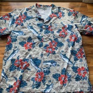 Columbia men floral fin Hawaiian shirt xxl